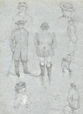 VICTORIAN FIGURES Pencil Sketch JAMES SIMPSON ALDERSON c1880