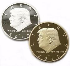2 Sets President Donald Trump Silver Gold Plated Commemorative coin Collectibles