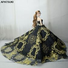 "Black Gold Embroidery Fashion Wedding Dress for 11.5"" Doll Clothes Outfits 1/6"