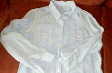 M&S ladies blue stripe linen shirt size 14