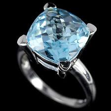 Sterling Silver 925 Genuine Sky Blue Topaz Gemstone Solitaire Ring SizeQ US 8.25