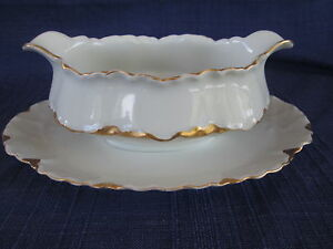 Haviland Ranson GRAVY BOAT & UNDERPLATE gold trim have more items to this set