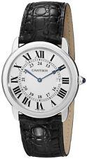 Cartier Men's Ronde Solo Quartz Stainless Steel/Black Leather Watch W6700255