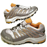 Salomon Mens 9 Trail Running Shoes Grey Orange Gore-Tex XCR Contagrip Ortholite