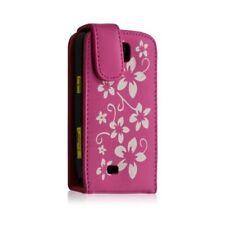 Housse coque étui pour Samsung Galaxy Mini s5570 motif fleurs couleur rose fuchs