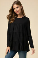 ENTRO Basic Black Ruffle Tiered Detail Knit Top USA Boutique