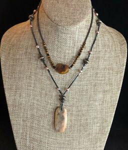 Freshwater Pearl Necklace Bronze + Carnelian Hematite Gem Lot 2 925 Silver #1656