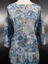 Beautiful Women's Size 2 Chico's Blue Diamond Design 3/4 Sleeve Blouse GUC