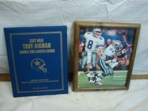 Vintage Traoy Aikman 22kt Gold Rookie & Carrer Cards Danbury Mint Smith Photo