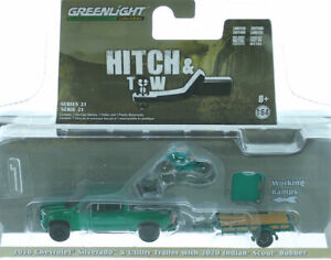 CHASE GREENLIGHT 2020 CHEVROLET SILVERADO & INDIAN MOTORCYCLE 1/64  32210D