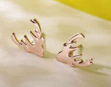 Pair Of Christmas Rose Gold Tone Reindeer Stud Earrings Ear Rings Xmas Deer ER52