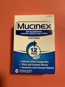 Mucinex 600mg Expectorant 100 Tablets Extended Release. Exp 8/2022
