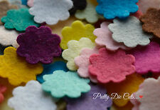 30 Felt Die Cut Small Flowers, Mixed Colours, Floral Craft Embellishments