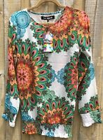 Desigual Long Sleeve Top NWT Lightweight Fabric size tagged L, AUS12 RRP $104-