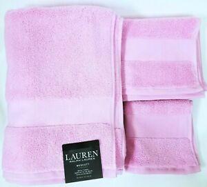 RALPH LAUREN WESCOTT 3 PC SET SAILCLOTH PERGOLA PINK BATH+HAND+WASH CLOTH TOWEL