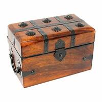 Deluxe Pirate Treasure Chest Keepsake Wooden Box (Large) Large