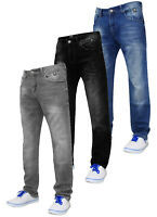 Mens Slim Fit Jeans Crosshatch Joggan Stretch Denim Pants Faded Trousers