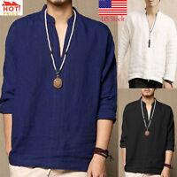 Men's Baggy Linen Long Sleeve Cotton Retro V Neck Solid T Shirts Tops Blouse US