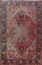 8x11 Vintage Geometric Heriz Area Rug Hand-Knotted Oriental Traditional Carpet