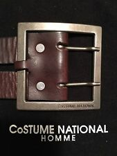 Authentic Costume National Homme Mens Brown Leather Belt Made In Italy 40