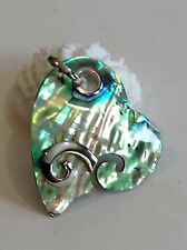 "New Pendant/Necklace Heart Abalone Shell Inlay w/Silver Jewelry Size 2""x 1.6"""