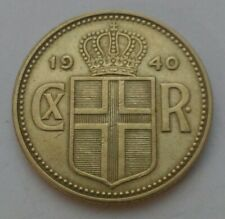Iceland 1 Krona 1940. KM#3.2. One Dollar coin. One Year Issue. Christian X.
