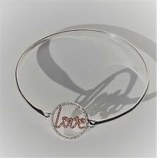 Sterling Silver Cubic Zirconia LOVE Bangle NEW FREEPOST