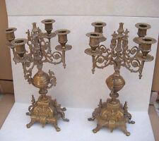 Paire de CANDÉLABRES Chandeliers anciens en Bronze 19e Napoléon 3 - VB2543