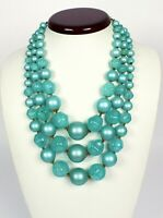 Vintage Triple Strand Green Lucite Bead Necklace Chunky