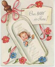 New ListingVintage Baby Birth Announcement Nipple Milk Bottle Greeting Card Art Old Print