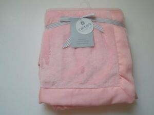 NWT Carters Pink Velour Boa Matte Satin Trim Soft Baby Girl Cozy Blanket HTF