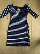 NEW LOOK NAVY & WHITE STRIPED STRETCHY BODYCON DRESS WITH CUT OUT REAR SZ 10