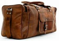 """New Men's 24"""" Real Brown Leather Luggage Weekend Duffel Overnight Travel Gym Bag"""