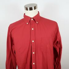 Nautica Mens Cotton Long Sleeve Button Down Solid Red Dress Shirt Size XL