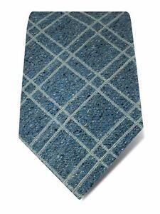 Blue Woven Cotton & Silk Tie with White Overcheck