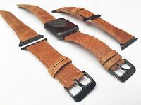 Piel Naranja correa de reloj para Apple Serie 42mm Negro Fijación 1 2 & 3