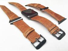 ORANGE Band Cinturino in Pelle Per Apple Watch 38mm Nero fixs SERIE 1 2 & 3
