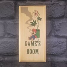Games Room - Plaque / Sign / Gift - Super Mario Stoner Door Smoking 65