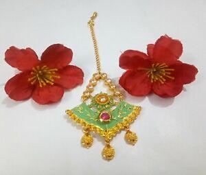 Indian CZ Green Tikka Meenakari Head Piece Ruby Stone Gold Plated Bridal Jewelry