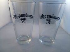 Independence Brewing Company Pair Pint Glasses Austin Texas Craft Beer Microbrew