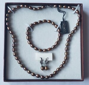 Honora Collection Bronze Pearl Sterling Silver Necklace Bracelet & Earrings Set