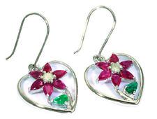 3.76ct Ruby, Emerald & Diamond Earrings in 18K White Gold