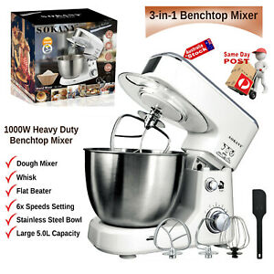1000W 6 SPEED KITCHEN BENCHTOP DOUGH MIXER 5L WHIP WHISK BLEND KNEAD BAKING HOME
