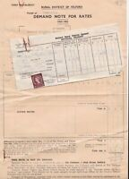 Rural District of Belford 1954-55 Demand for Rates Note+ Stamp Receipt Ref 38854