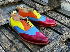 Bespoke Handmade Multi-Color Leather Wing Tip Brogue Lace Up Shoes For Men