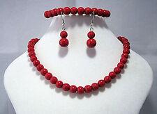 Collana con perline di vetro Rosso Orecchini & Braccialetto Set