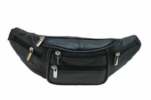 Genuine Cowhide Leather Waist Fanny Pack Pouch 6 Compartments Black
