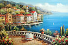 Italian Adriatic Home Beach Patio Table For Two 24X36 Oil Painting STRETCHED