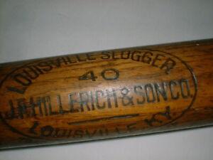 Old 1900's Bat JF HILLERICH & SONS Pro Louisville Slugger 4O Branded RARE OVAL O