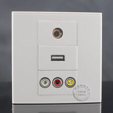 Wall Face Plate 3RCA  AV +TV + 2.0USB Charger  Socket Assorted Panel Faceplate